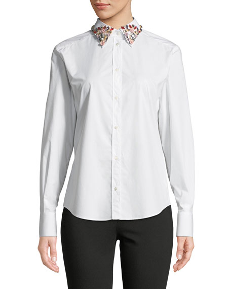 Button-Front Long-Sleeve Cotton Blouse with Embellished Collar