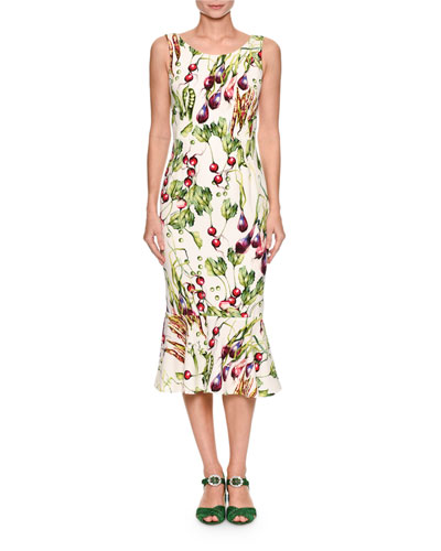 Sleeveless Veggie-Print Midi Dress