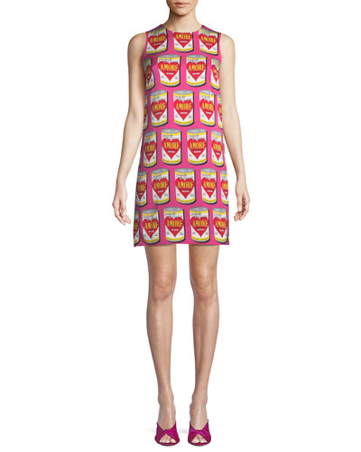 Amore-Print Sleeveless Shift Dress