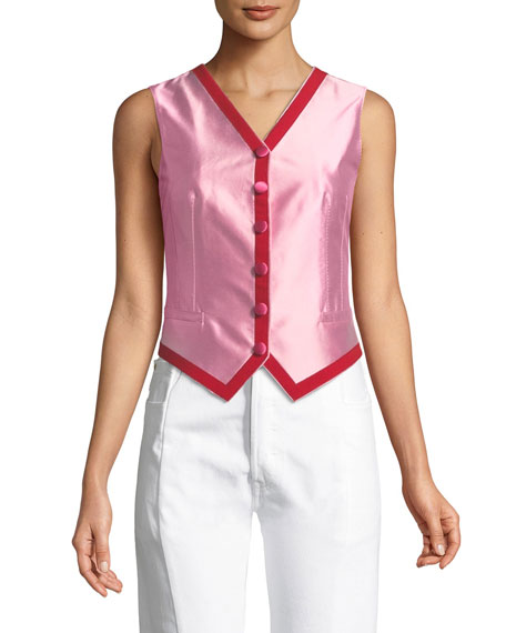 Silk Shantung Two-Tone Button-Down Vest