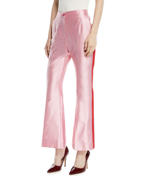 High-Waist Flared-Leg Shantung Pants w/ Contrast Trim