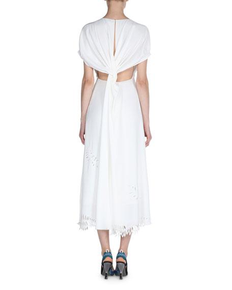 Cap-Sleeve Tropical Cutout Midi Dress