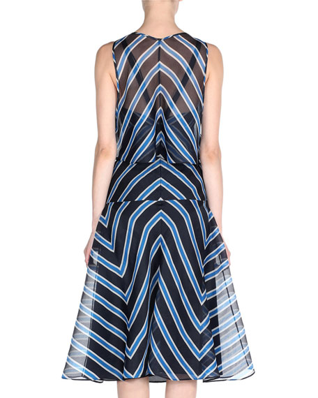 Chevron-Striped Dress w/Capelet