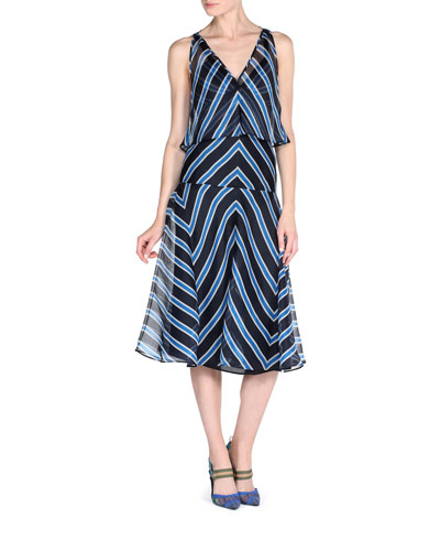 Chevron-Striped Dress w/Capelet