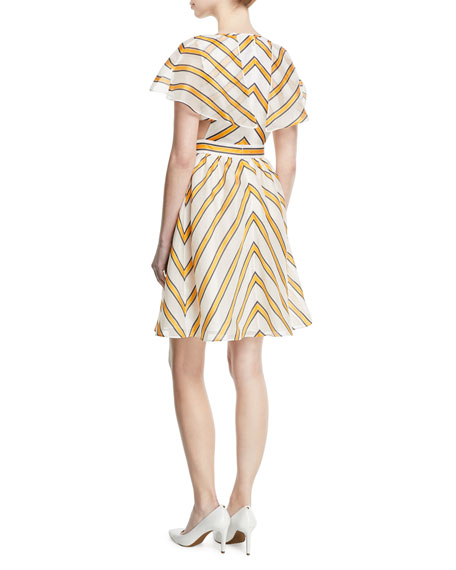 Striped-Gauze Jacquard Cocktail Dress w/ Short Cape