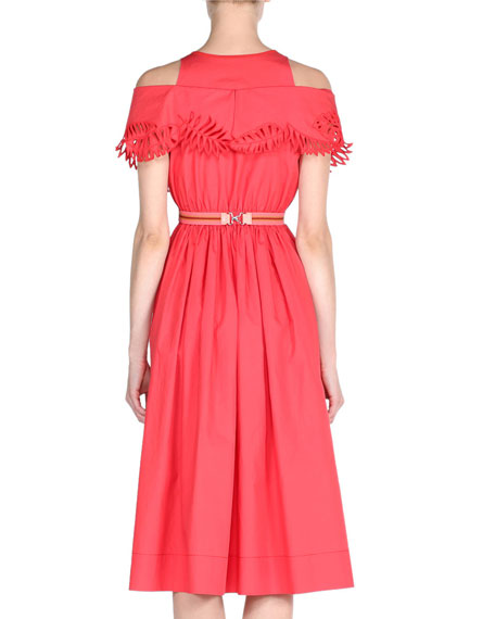 Cold-Shoulder Taffeta Midi Dress