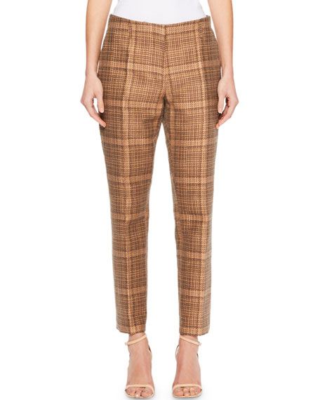 Paola Plaid Slim-Leg Pants
