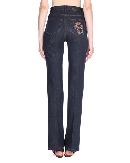 Boot-Cut Denim Jeans w/Palm Tree Patch