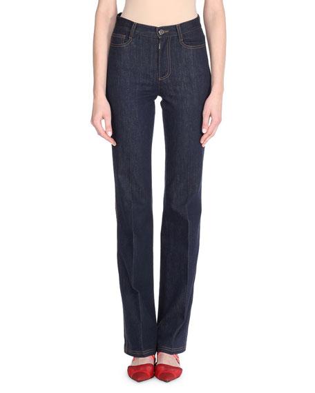 Boot-Cut Denim Jeans w/Palm Tree Patch