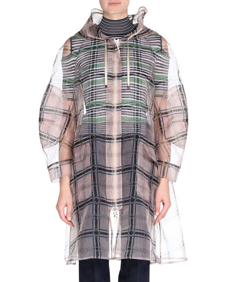 Pixelated Madras Plaid Trenchcoat