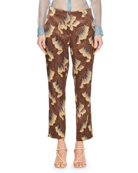 Paola Ginko-Print Slim-Leg Pants