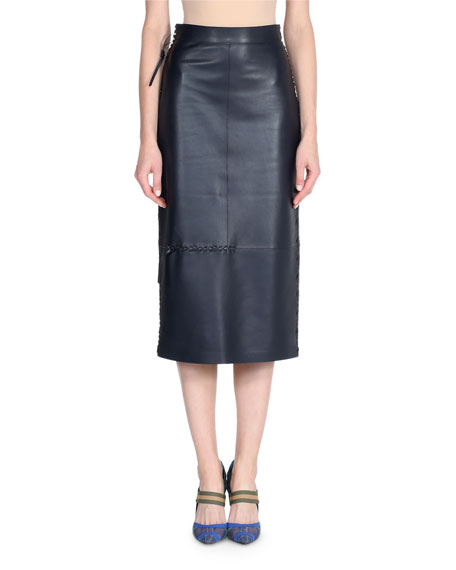 Whipstitch Leather Pencil Skirt