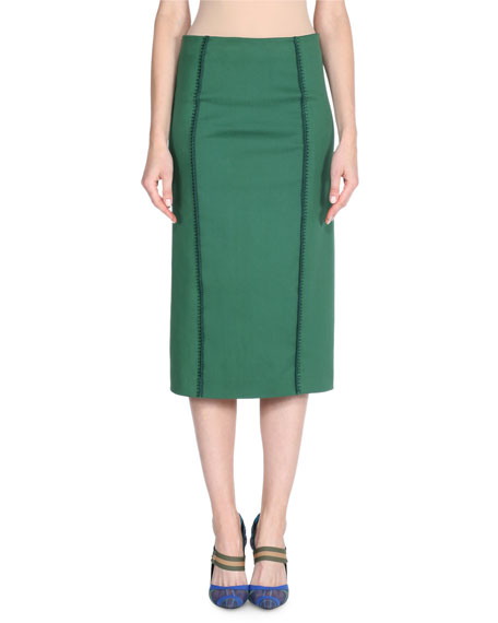 Stretch Drill Pencil Skirt