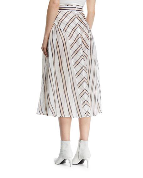 Gonna Sun Stripe Gauze Jacquard Skirt with Pleated Sides