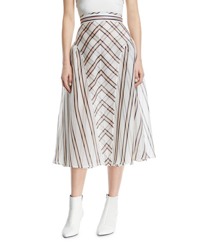 Gonna Sun Stripe Gauze Jacquard Skirt with Pleated Sides