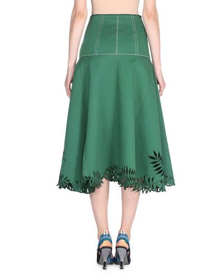 Tropical Cutout Midi Skirt