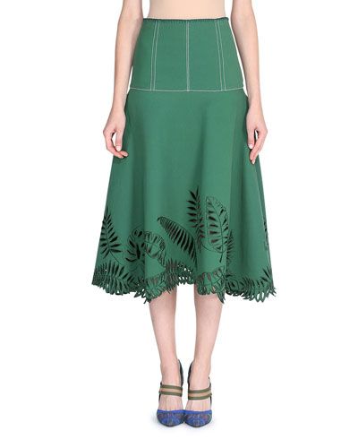 Tropical Cutout Midi Skirt