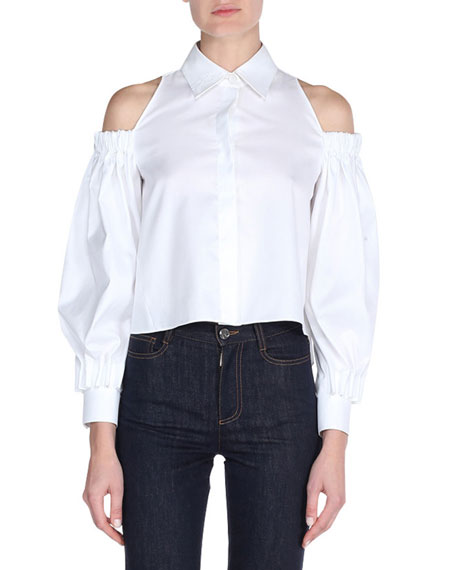 Poplin Cold-Shoulder Blouse