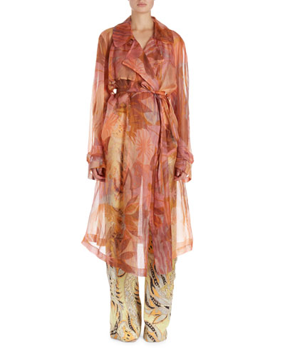 Rigy Watercolor Floral Organza Trenchcoat