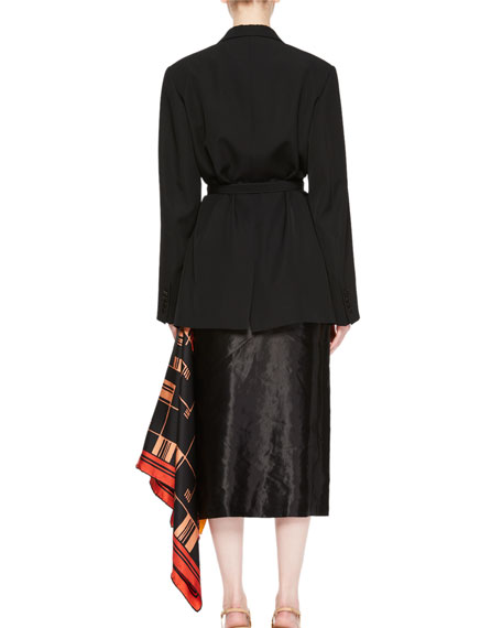 Bacchu Jacket Blazer w/ Attached Foulard Side Wrap