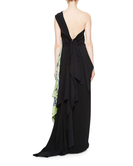 Cremy One-Shoulder Gown w/Foulard Sash