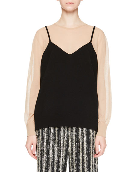 Jen Illusion Cami Top w/Sheer Sleeves