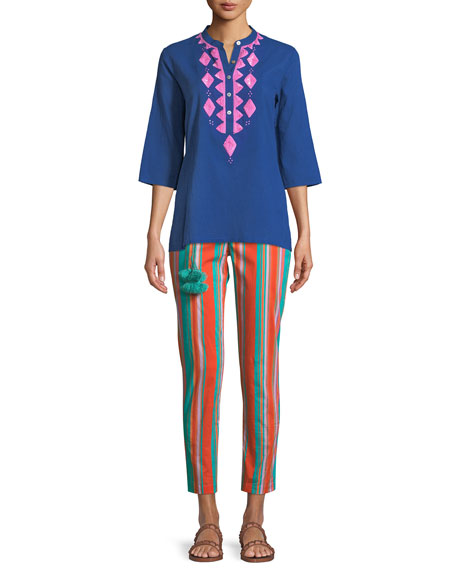 Jasmine Embroidered 3/4-Sleeve Top