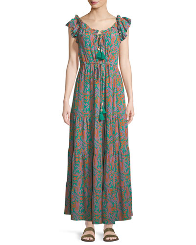 Gianna Paisley Cap-Sleeve Maxi Dress