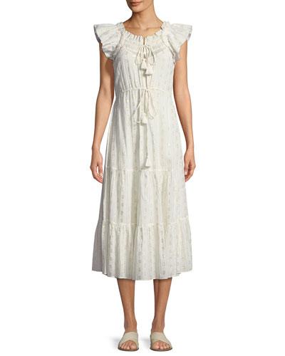 Gianna Ruffle-Sleeve Voile Midi Dress