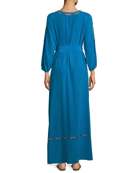 Lulu Embroidered Tie-Waist Maxi Dress