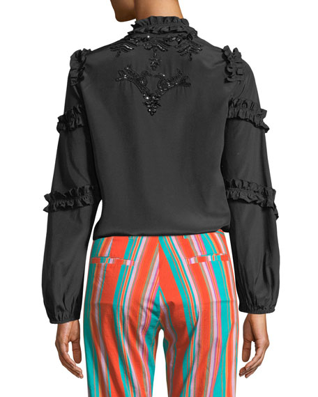 Amelia Long-Sleeve Ruffled Sequined Blouse
