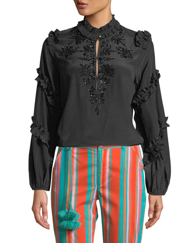 Amelia Long-Sleeve Ruffled Sequined Blouse