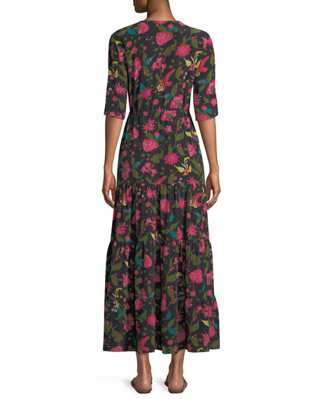 Kalila Floral Silk Half-Sleeve Maxi Dress