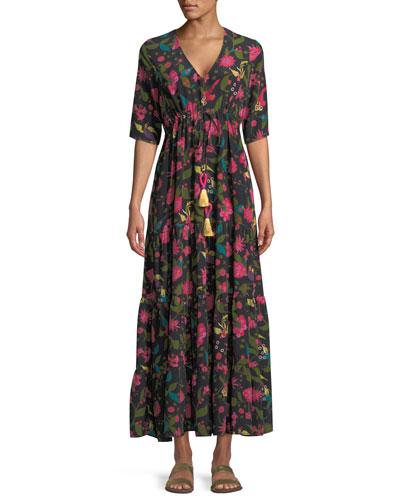 Kalila Floral Silk Half-Sleeve Maxi Dress