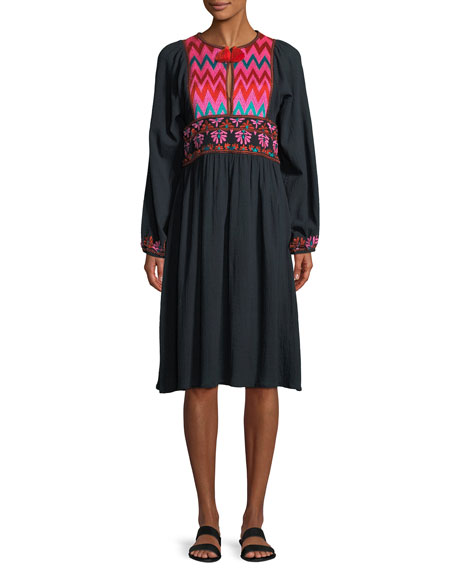 Violeta Split-Neck Long-Sleeve Cotton Dress with Embroidery