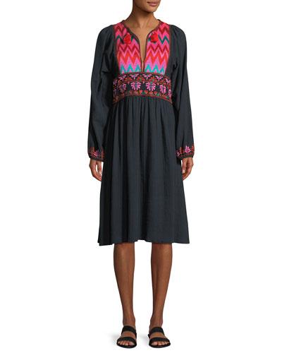 Violeta Split-Neck Long-Sleeve Cotton Dress with Embroidery