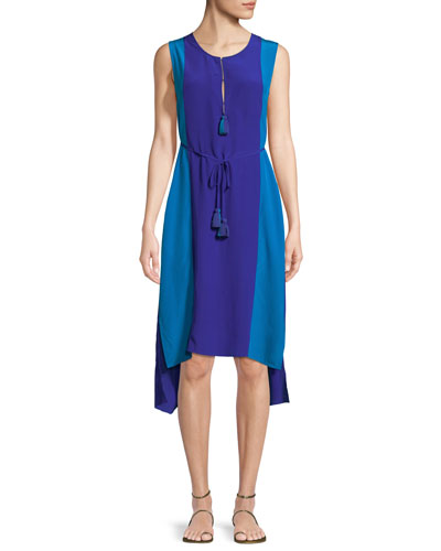 Karina Colorblock Tie-Waist Silk Dress