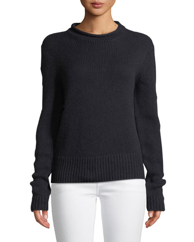 Knit Cashmere Roll-Neck Sweater