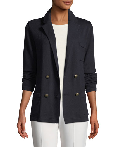 Long-Sleeve Double-Breasted Cashmere Jacket