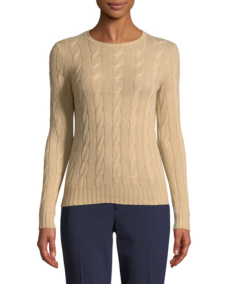Long-Sleeve Cable-Knit Cashmere Sweater