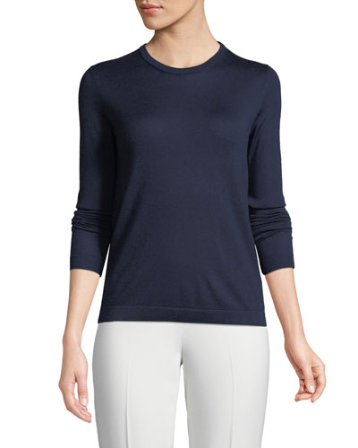 Crewneck Long-Sleeve Cashmere Jersey Sweater