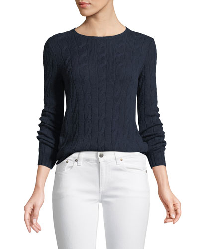 Long-Sleeve Crewneck Cable-Knit Cashmere Sweater