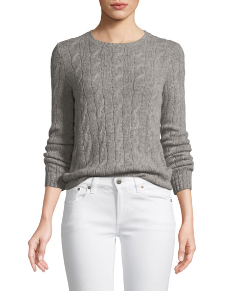 Long-Sleeve Crewneck Cashmere Cable-Knit Sweater