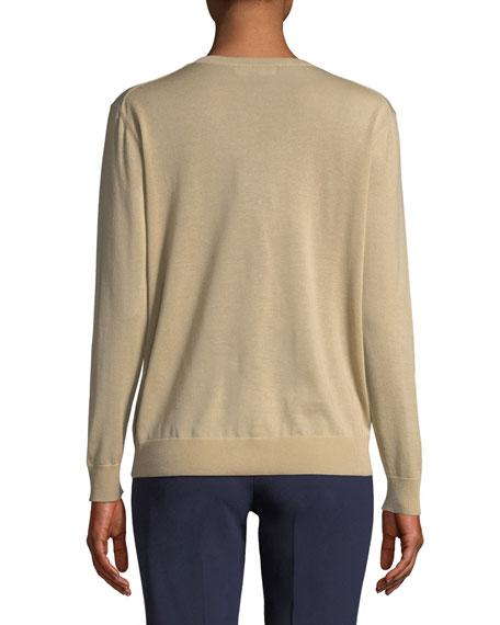 V-Neck Long-Sleeve Cashmere Jersey Sweater