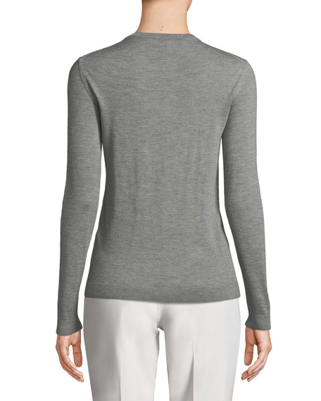 Crewneck Long-Sleeve Cashmere Jersey Top
