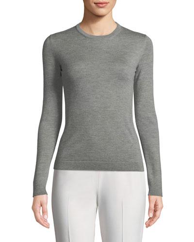 Crewneck Long-Sleeve Cashmere Jersey Top