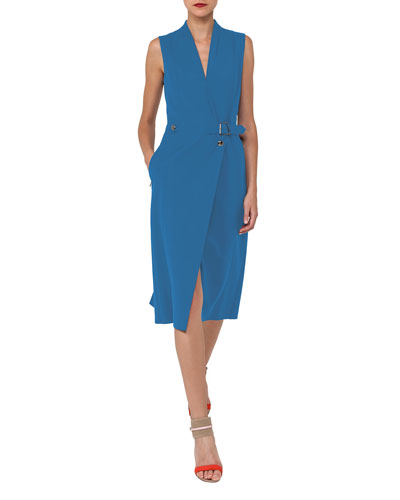 V-Neck Sleeveless Wrap-Style Cotton-Silk Coat Dress