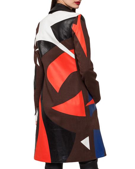 Patchwork Linen & Leather Coat Trench Coat