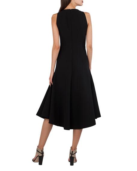 V-Neck Sleeveless Cutout-Waist Techno-Stretch Dress