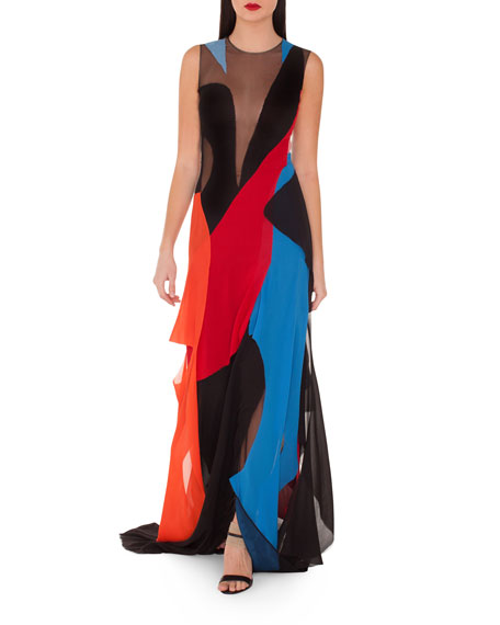 Sleeveless Patchwork Georgette Gown